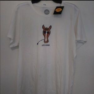 Life is good T-SHIRT With Horse Size XL